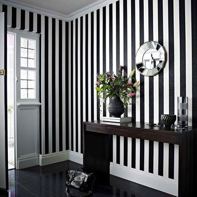 Metallic Grey And White Stripe Wallpaper Design From The Albany
