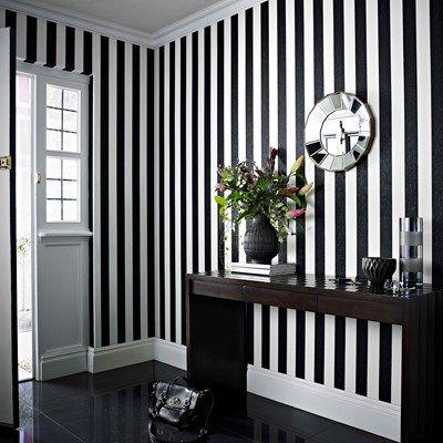 Glitterati Black White Stripe Wallpaper Bedroom White