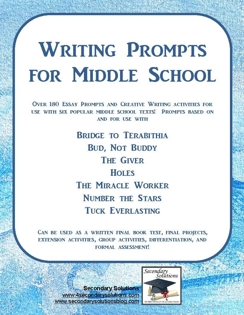 essay prompts middle school students 50 writing prompts for all grade levels  as with all prompts, inform students  that their answers should be rated g  middle school prompts.