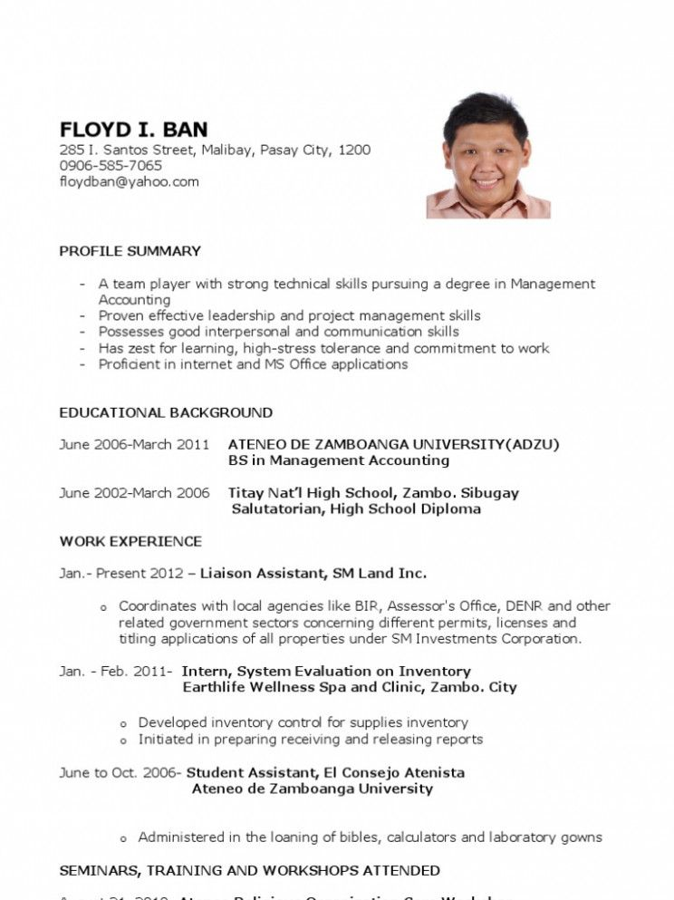 15 Resume Pattern For Ojt di 2020