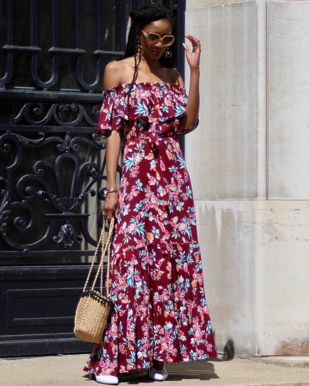 4ce7023546 Ruffled off the shoulder maxi dress + Basket Bag #streetstyle ...
