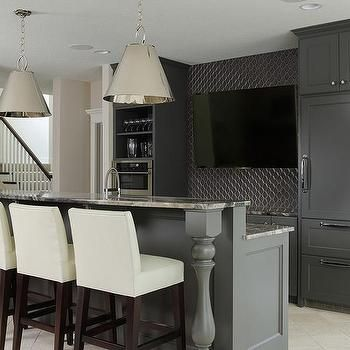 Delicieux Basement Wet Bar With Dark Gray Cabinets And Gray Granite Countertops