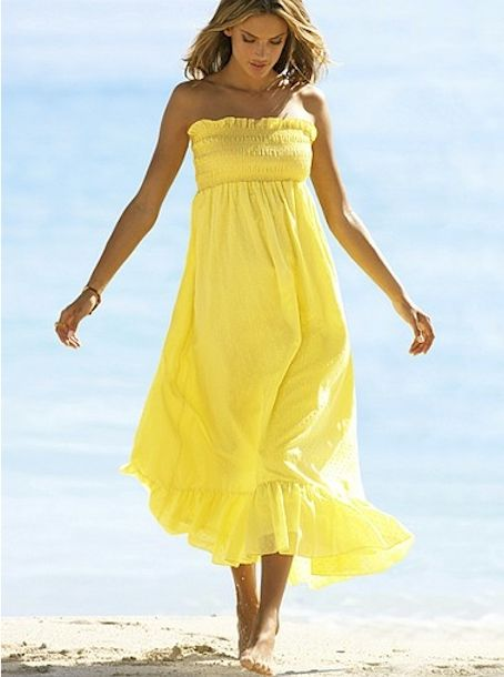 Beach wear... Long smocked yellow dress | Dresses | Pinterest ...