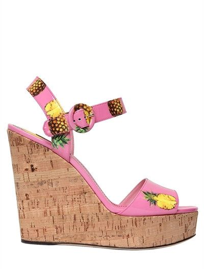 DOLCE & GABBANA 130Mm Bianca Faux Patent Leather Sandals, Pink/Multi. #dolcegabbana #shoes #wedges
