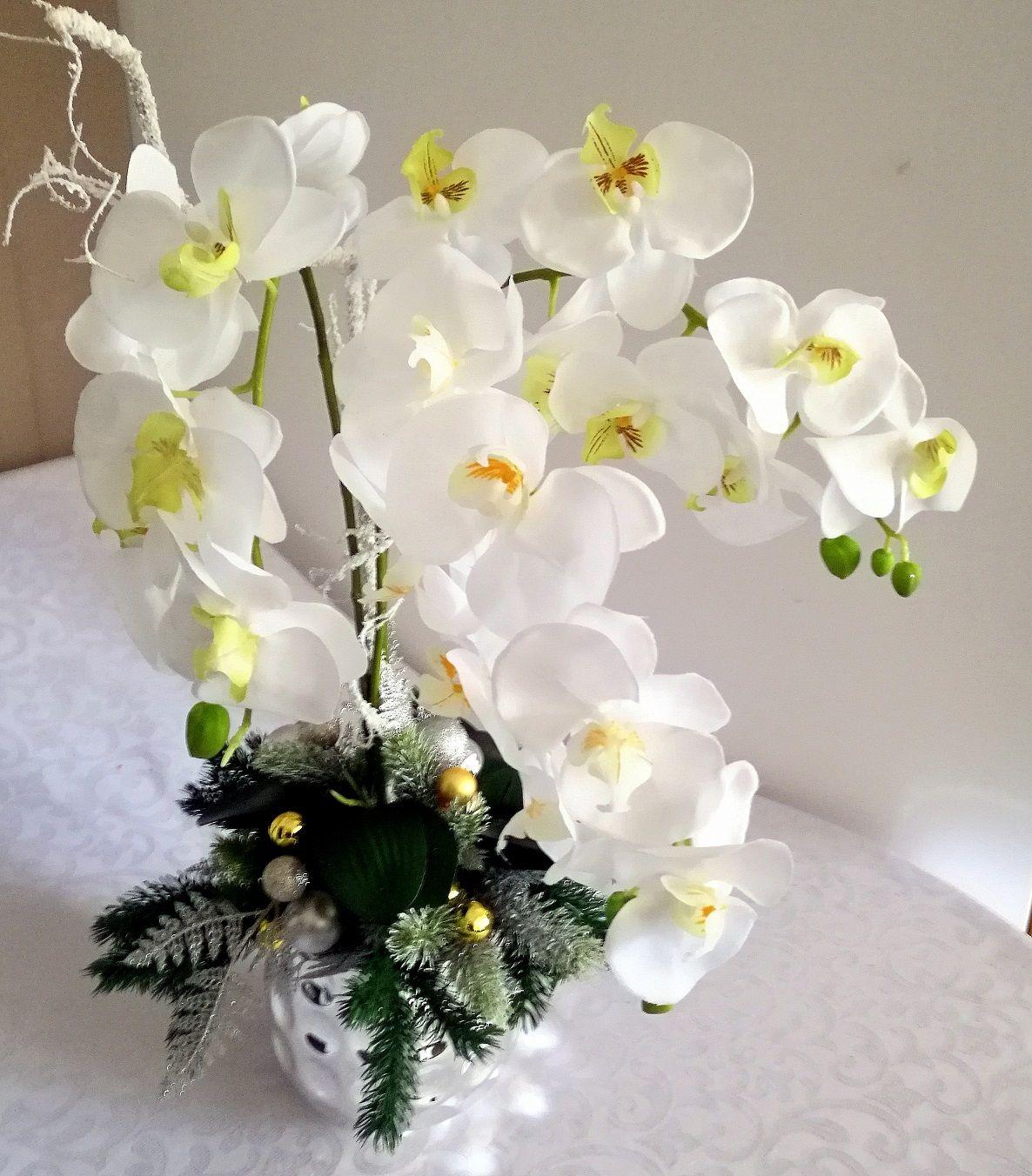 Dekoracja Na Swieta Ze Storczykiem Swiateczne Atelier Floral Wreath Floral Wreaths