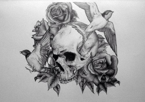 Skull Rose And Bird Tattoo Idea Tattoo Ideas Pinterest
