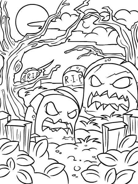 Coloring Colouring Haunted Woods Halloween Tombstone Tombstones