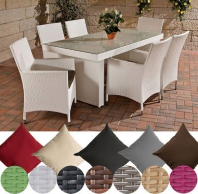 Polyrattan Sitzgruppe AVIGNON (Tisch 180 x 90 cm + 6 x Polyrattan