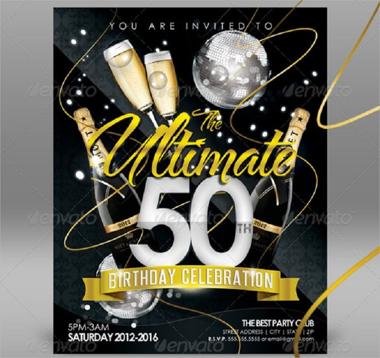 Creative And Beautiful 50th Birthday Invitation Card Design