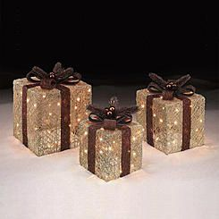 trim a home set of 3 copper and gold light up holiday presents decorations - Trim A Home Christmas Lights