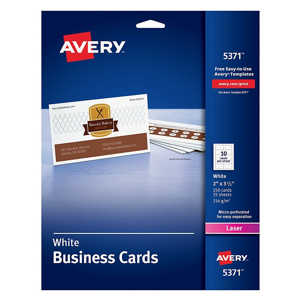 Avery Laser Microperforated Business Cards 2 X 3 1 2 White Pack Of 250 For Minimalist Business Cards Office Depot Business Cards Uncoated Business Cards