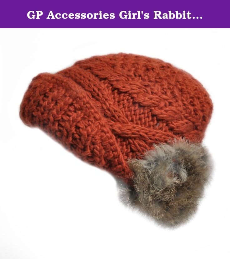 d0f63f0015e GP Accessories Girl s Rabbit Fur Ear Muffs Hand Knit Beanie Hat Small Red.  Soft