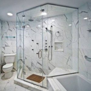 Modern Bathroom With Shower Bathroom Marble Tile Walls And ...