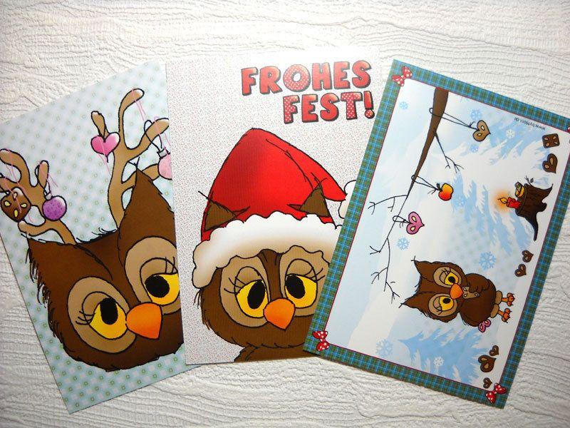 3 Eulen ★ Weihnachtskarten von Eulenshop byMoni auf DaWanda.com
