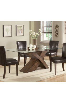 Nessa Large Scaled X Base Dining Table With Glass Top By Coaster