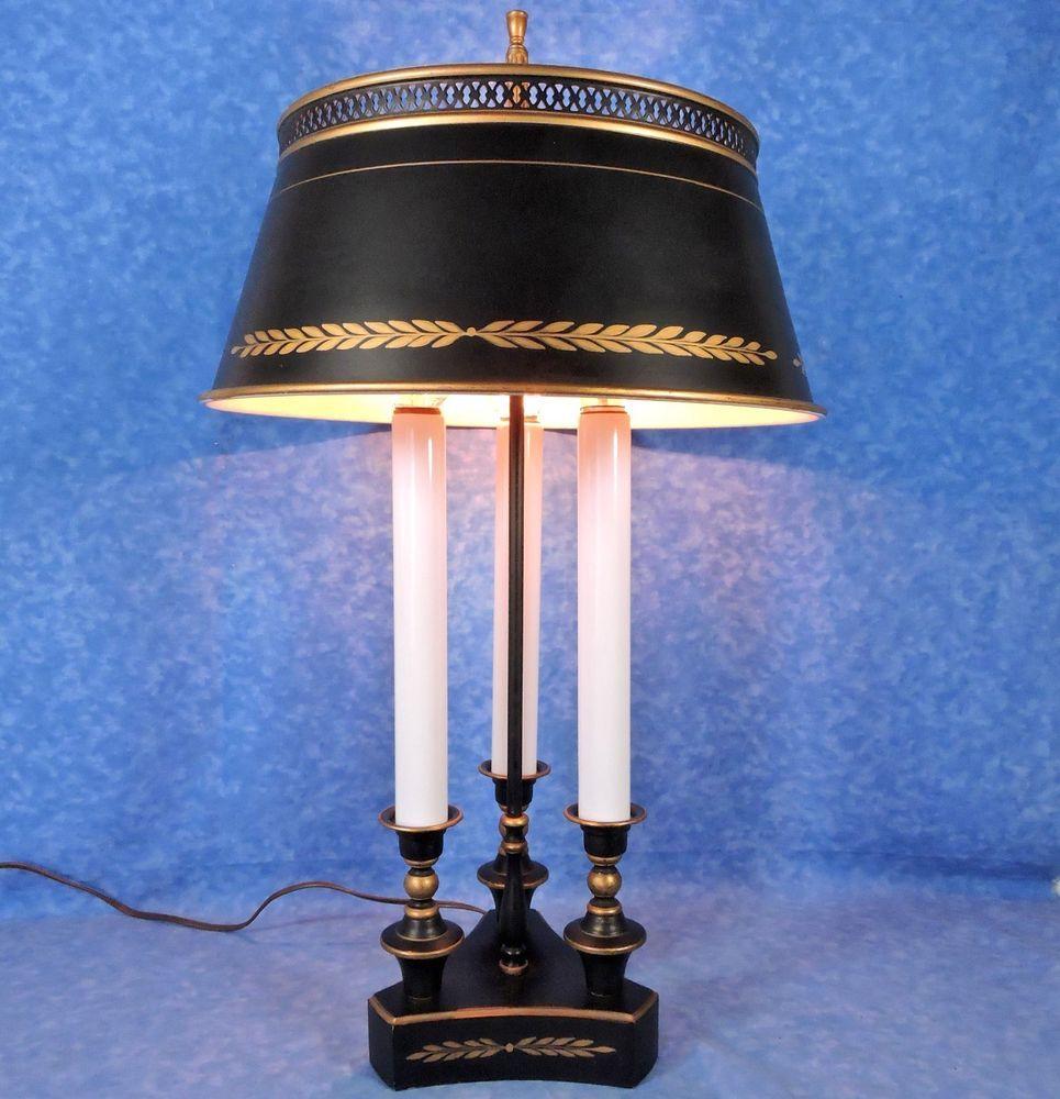 Vtg. Black U0026 Gold Tole Metal 3 Light Bouillotte Table Lamp U0026 Shade  22