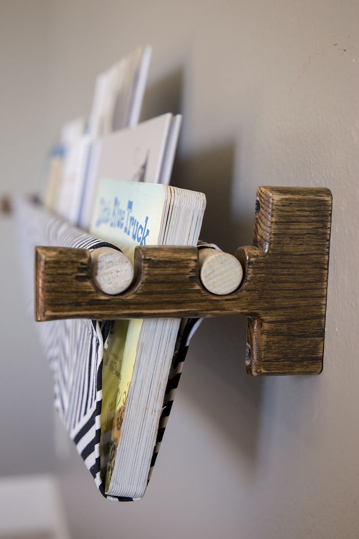 childrens books and a book sling | lees grot idees | wood