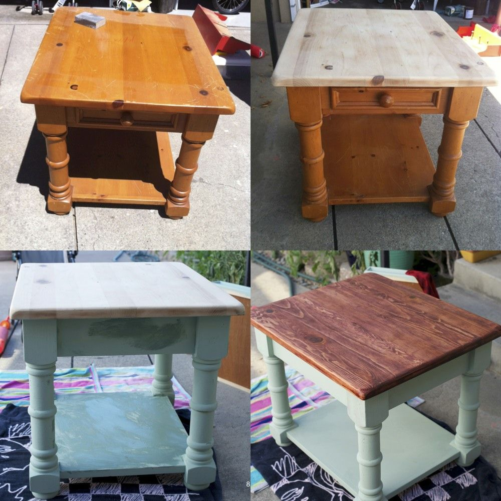 Repurposed End Table. Leave Top, Spray Paint Bottom (cream