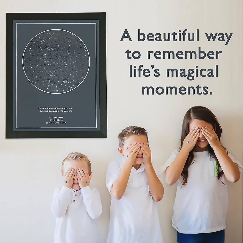 Capture life's magical moments with a beautiful custom star map. Perfect for b…