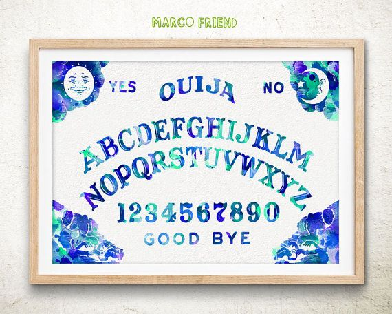 Ouija Board - Watercolor Art Print Home Wall decor Spirit Board Wall Art  sc 1 st  Pinterest & The Ouija Board Prints Spirit Board Planchette Talking Board ...
