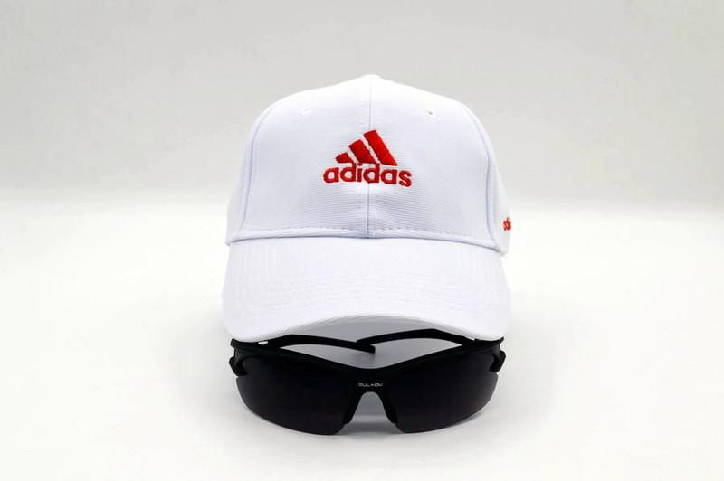another chance 79bc1 2489d Mens   Womens Adidas Basic Iconic Adidas Logo Ultimate Golf Relaxed Fit  Adjustable Strap Back Cap - White   Red