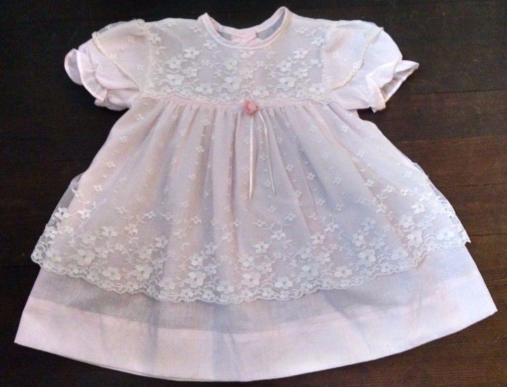 Vtg Baby Girl Dress 24M Light Pink Sheer White Floral Lace Overlay ...