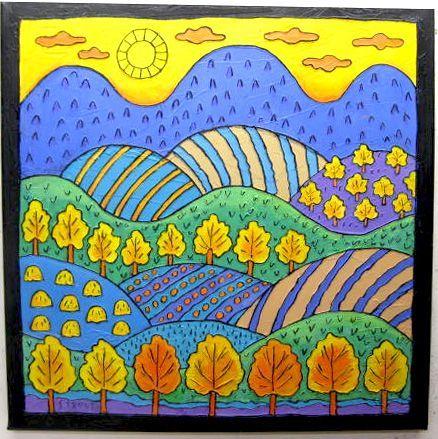 Color Art Ideas For Preschoolers : Linear landscape: art lessons color schemes autumn ideas for