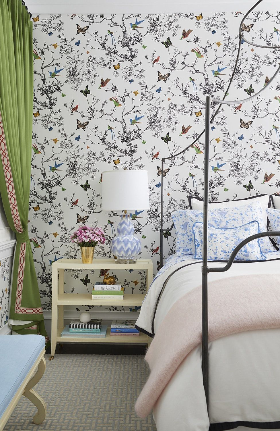 Best Bright Bedroom With Butterfly Wallpaper Green Curtains 400 x 300