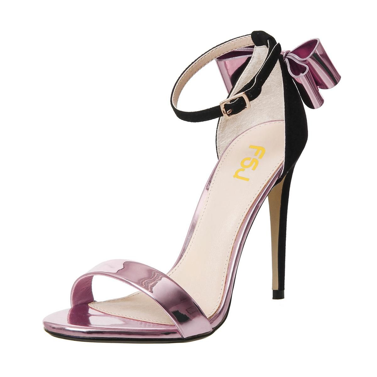 c6d81687bade  FSJshoes -  FSJ Shoes Rose Gold Shoes Ankle Strap Sandals with Bow -  AdoreWe