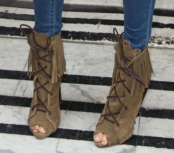 Alesha Dixon Nails Effortless Cool in Ripped Jeans and Giuseppe Zanotti  Fringe Boots