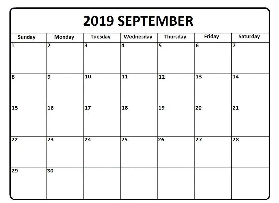 September 2019 Calendar Pdf Word Excel Template Excel Calendar