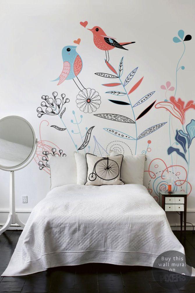 Grand Deco Chambre Fille Papier Peint Fleurs Et Oiseaux   Le Blog Déco De MLC