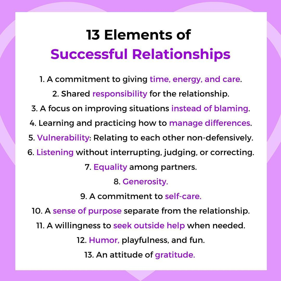 13 Elements of Successful Relationships
