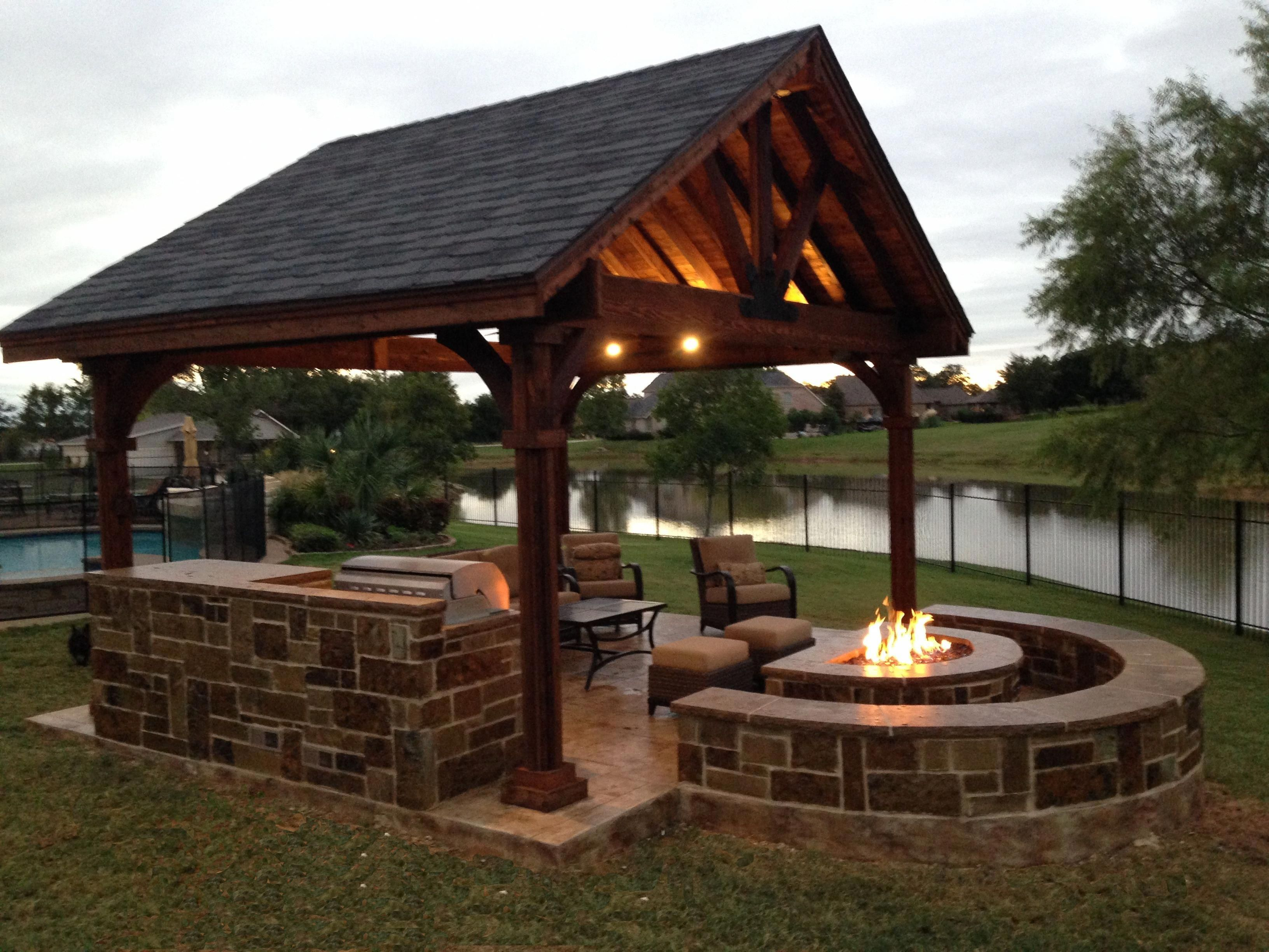 Or Attached Like This Outdoor Kitchen Fire Pit Seating Area Outdoorkitchendesignsideas Backyard Gazebo Backyard Fire Backyard Patio