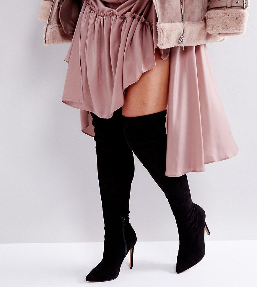 tout neuf c9e04 adc4c ASOS KARLA Wide Fit Over The Knee Boots - Black | Boots ...