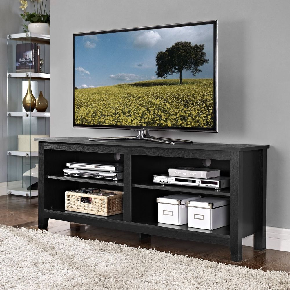 Tv stand console center entertainment dvd media open storage tv stand console center entertainment dvd media open storage shelves 60 black sciox Image collections
