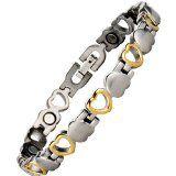 Willis Judd New Ladies Love Heart Design Titanium Magnetic Bracelet In Black Velvet Gift Box + Free Link Removal Tool GXBv8qQ