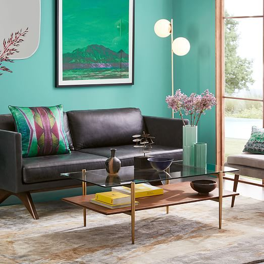 Mid Century Art Display Coffee Table Walnut Home Furnishing
