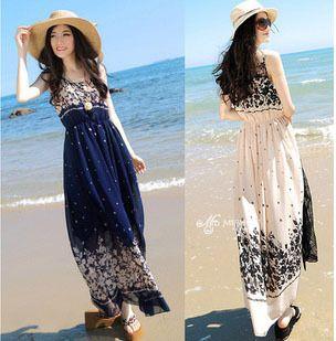 transporte livre barato moda bohemian estilo vintage patchwork print chiffon vestido longo para as mulheres desgaste do verão roupas venda q...