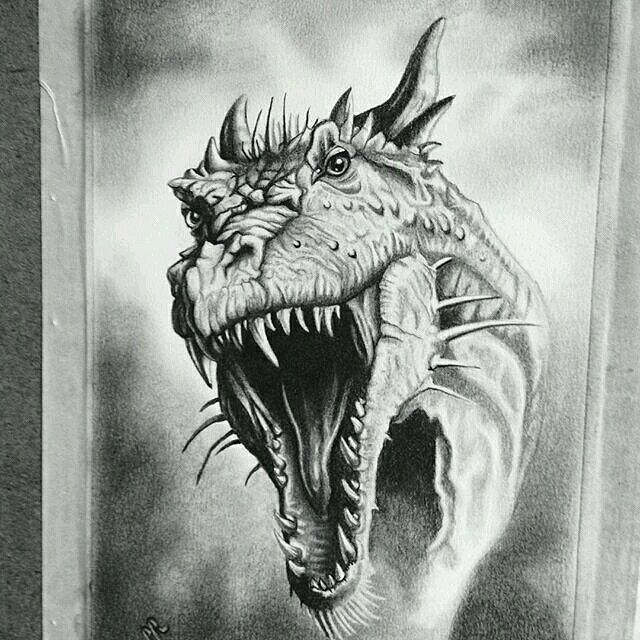 Wow! Check out this #dragon #pencil #drawing by @paul ... Drawings Of Dragons Realistic