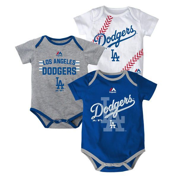 Los Angeles Dodgers baby one piece set with 3 bodysuits boasting team  colors and logos. Bodysuits have lap shoulders for easy on off and snaps at  bottom for ... 39f9d9725
