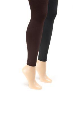 87bdaf3e834 Muk Luks Women s Women s Fleece Lined 2-Pair Pack Footless Tights -  Black Brown - S