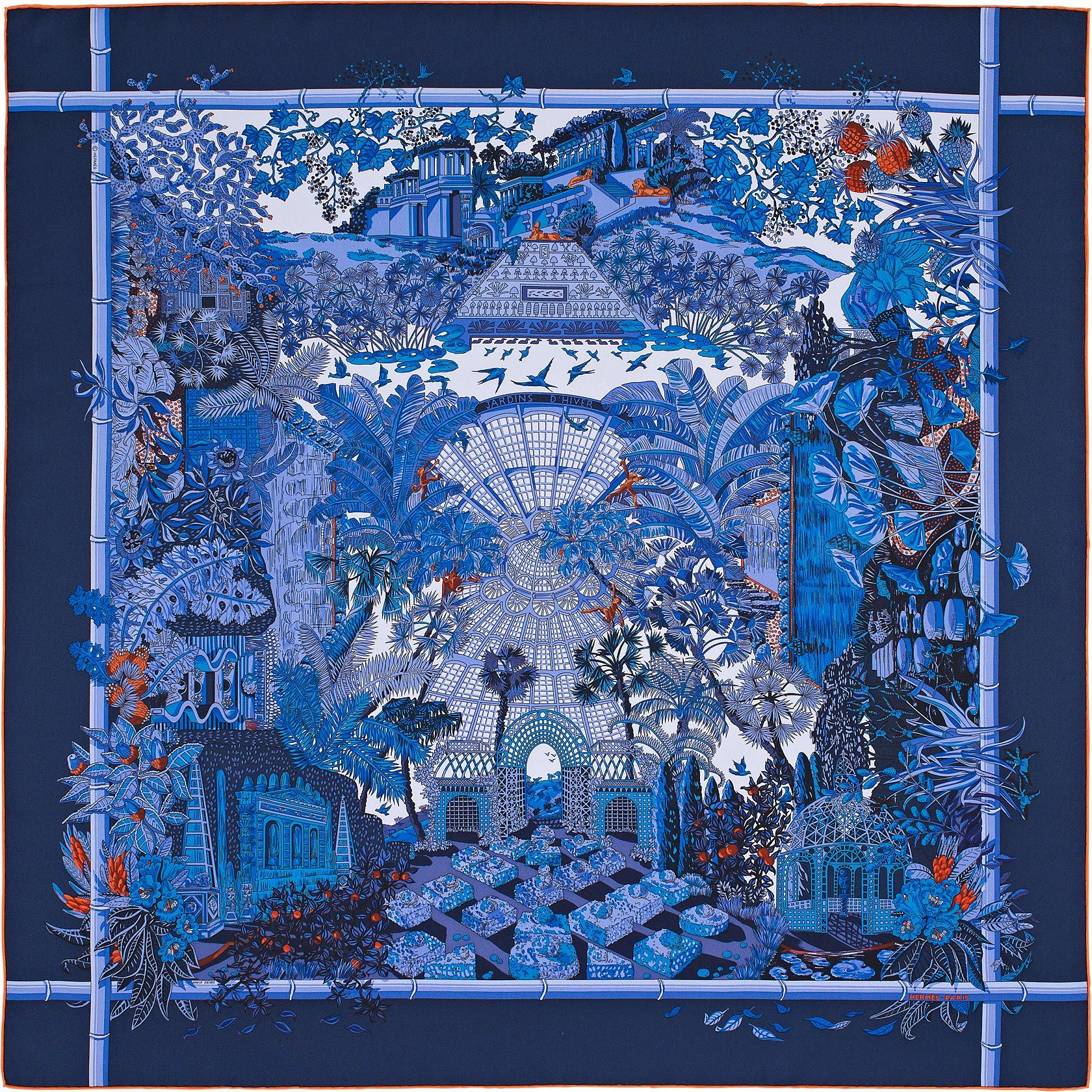 36 x 36 scarf herm s jardins d 39 hiver silk painting. Black Bedroom Furniture Sets. Home Design Ideas