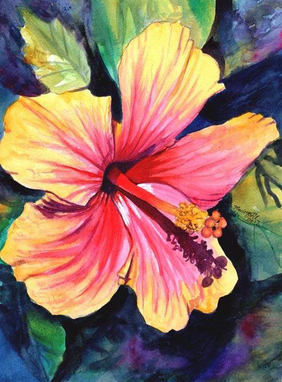 Hibiscus Original Watercolor Painting From Kauai Hawaii Hawaiian