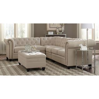 Superieur Coaster Traditional Roy Oatmeal Linen Blend Fabric Nailhead Trim Sectional  Sofa And Ottoman
