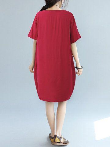Gracila Casual Print Patchwork Short Sleeve O-neck Loose Dress For Women