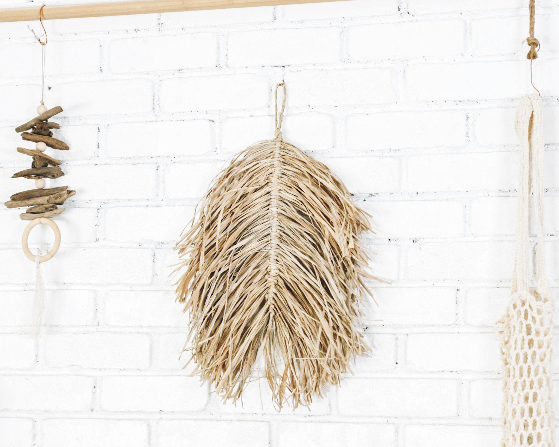 Handmade Natural Raffia Leaf Macrame Wall Hanging Grass Handmade