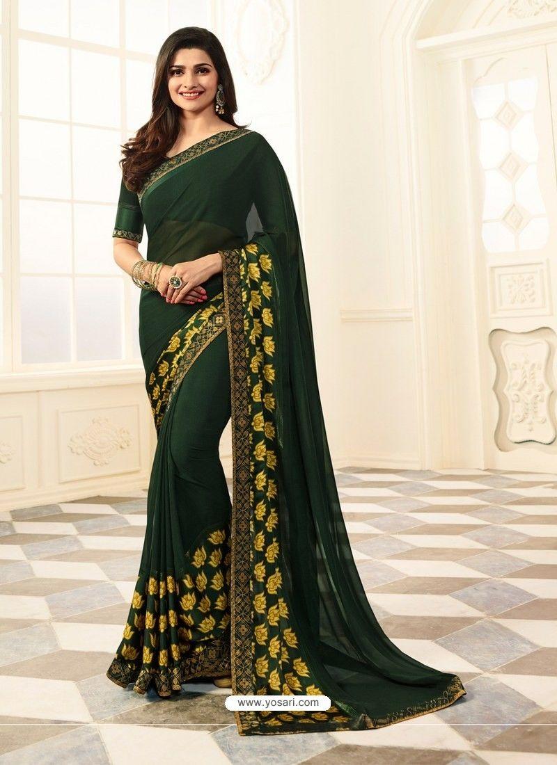 6379e04136c263 Dark Green Rangoli Designer Printed Saree | CASUAL SAREES | Saree ...