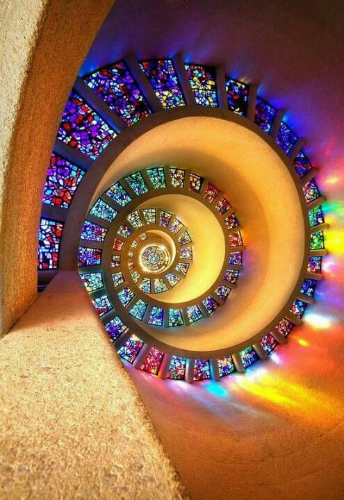 Spiral stained glass ceiling in a Dallas, TX chapel