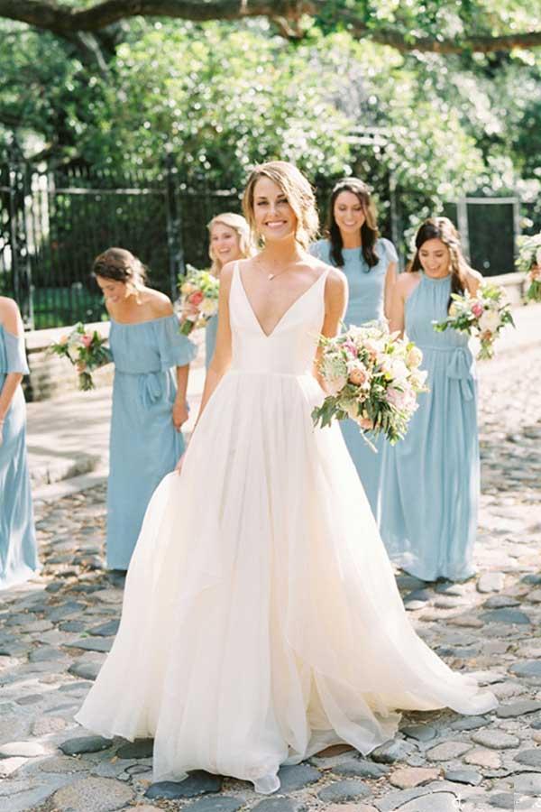 Discount V Neck Organza Rustic Country Style Wedding Dress Gdc1274 Wedding Dresses Ivory Chiffon Wedding Dress Beach Wedding Dress
